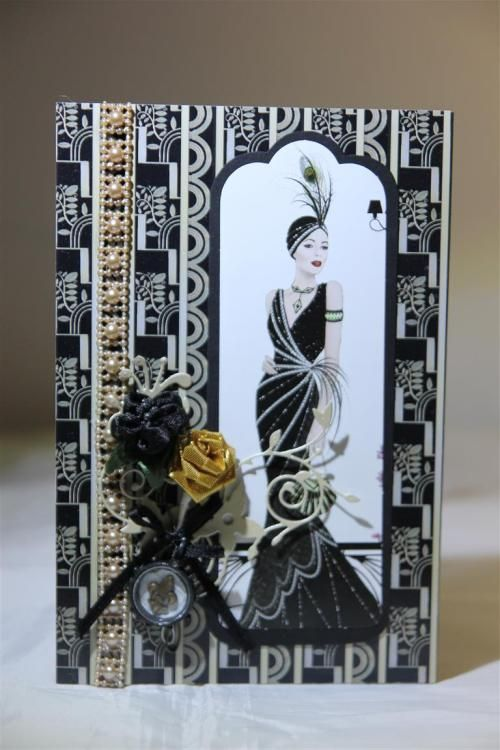 """""""Female Birthday"""" Card by Helen of Helen's Card Designs [using Docrafts Papermania Art Deco Range] ~ Cards 1."""