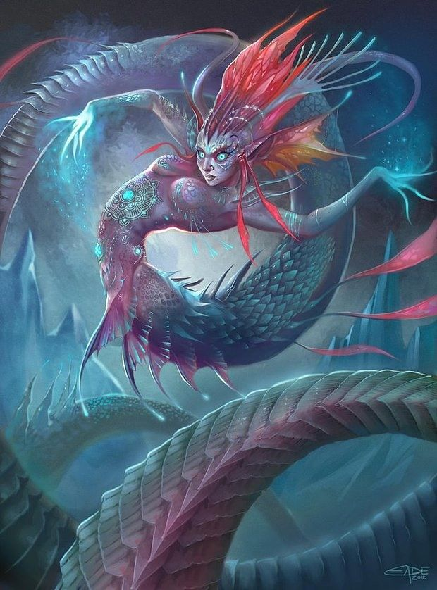 A great take on the underwater female idea, but the serpentine coils are enticing and captivating, the water setting accents the right features.