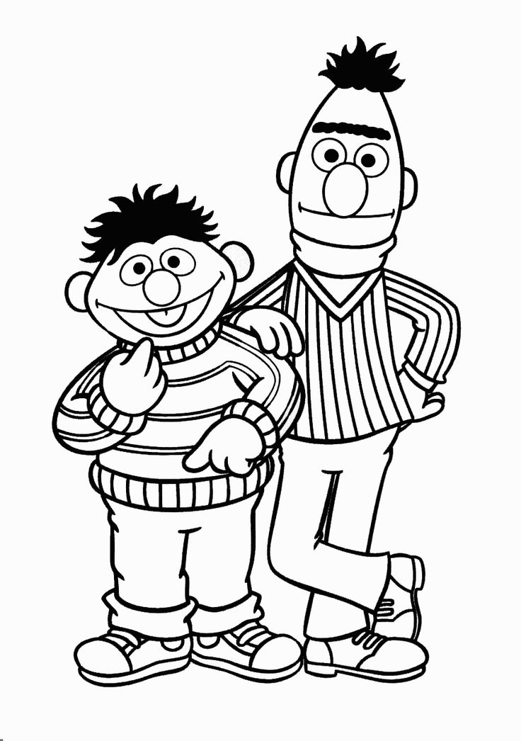 Bert And Ernie Smile | Sesame Street Coloring Pages ...