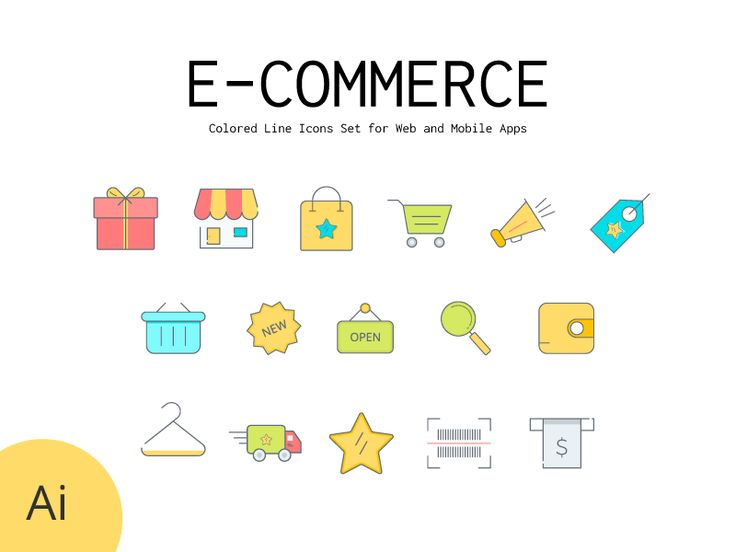 Colored Line Icons Set | E-Commerce Shopping by Osama Dawood