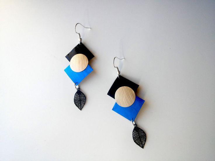 Boucles d'oreille losanges noirs et bleu avec rond doré en capsule de café Nespresso