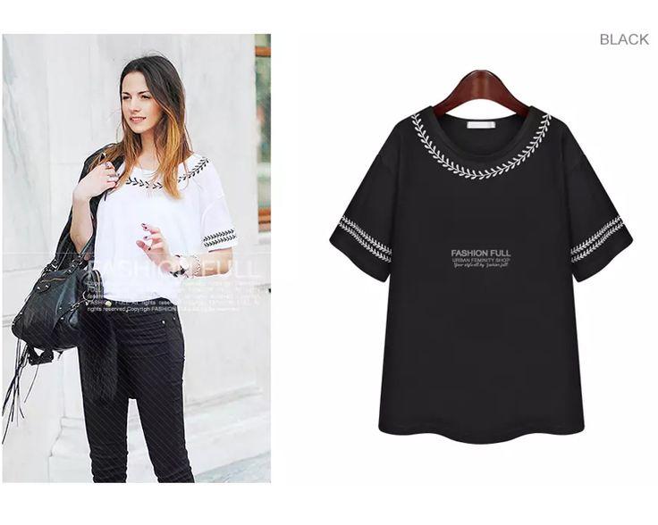 5XL mulheres verão Tops branco / preto mulheres de T com manga curta E38 em Camisetas de Roupas e Acessórios no AliExpress.com | Alibaba Group