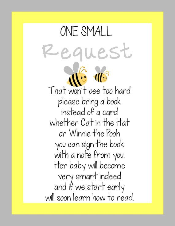 INSTANT DIGITAL FILE - Bumble Bee Baby Shower Invitation Insert - Bring a Book instead of a card!!! :) on Etsy, $5.00