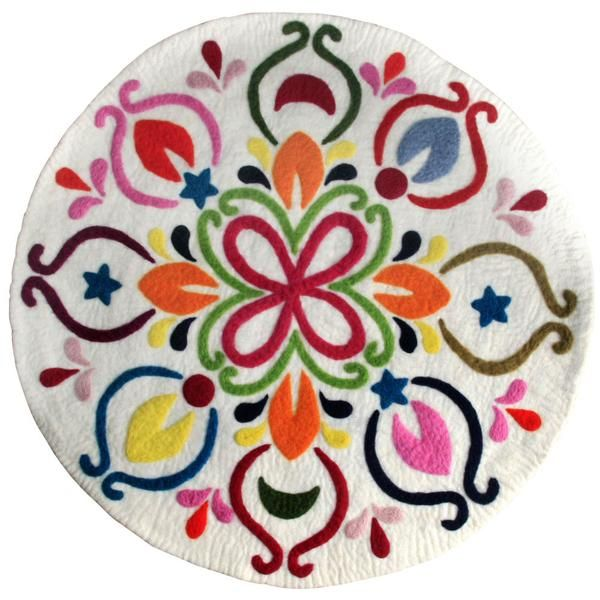 A vibrant and stunning rug to make an impact. : 90cm Fair trade felt baby and kids gift. Made in Nepal.