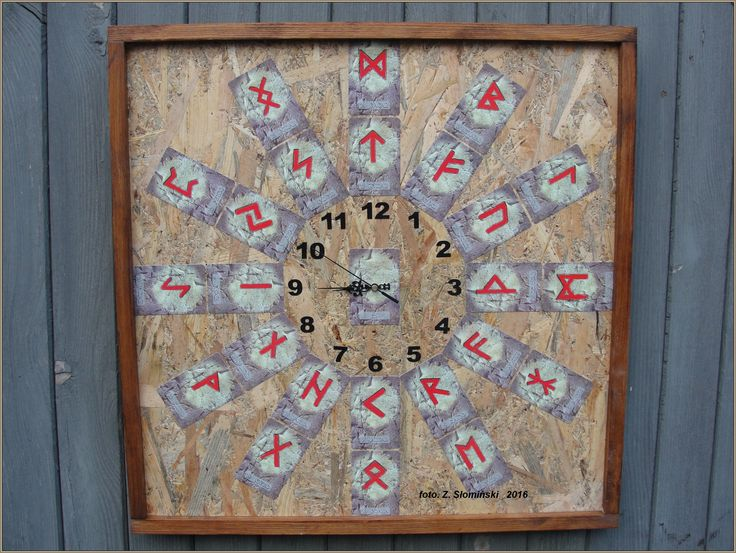 """Clock with runes. This signs were used by peoples of Scandinavia and north - Germanic. The word """"RUN"""" in Scandinavian means """"mystery"""" or """"singing""""."""
