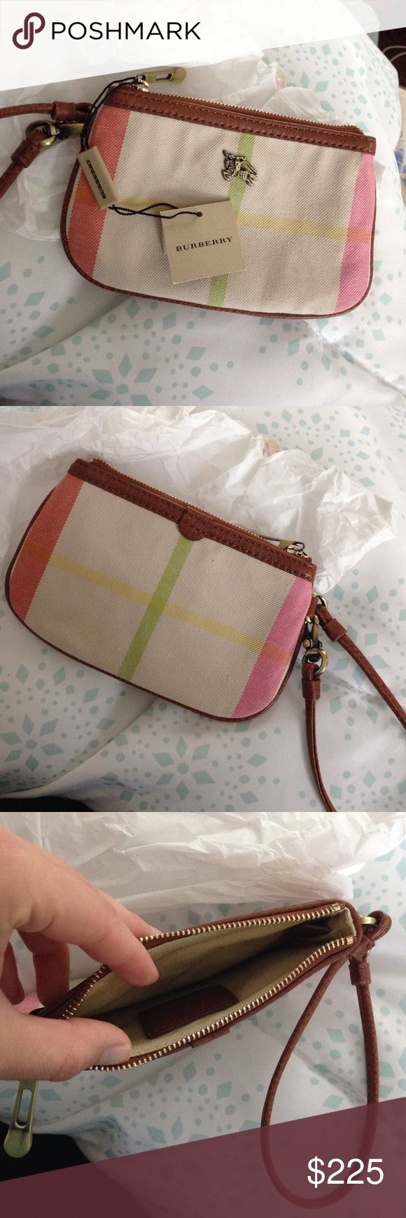 Burberry Plaid Wallet So cute! NWT!! Received as a gift but never used. Burberry Bags Clutches & Wristlets
