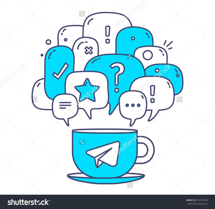 Vector Illustration Of Blue Color Dialog Speech Bubbles With Icons And Cup Of Coffee On White Background. Communication Technology Concept. Thin Line Art Flat Design Of Mobile Chatting And Messenger - 418778749 : Shutterstock