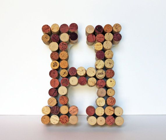 Wine Cork Monogram Letter Wall Hanging by BananaBeanDesign on Etsy