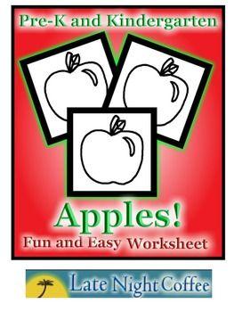 Pre-K and Kindergarten Apple Worksheet #appleactivity #applesheet