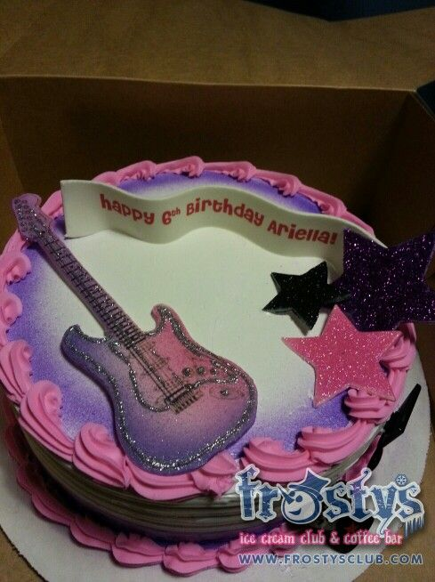 Girls rock star guitar ice cream cake