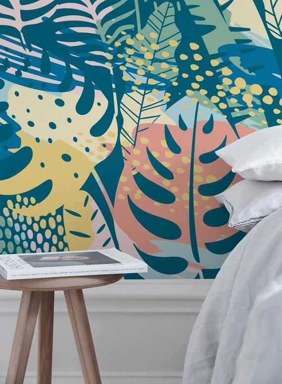 Flat Colorful Leaves Wallpaper Removable Wallpaper Peel And Stick Wallpaper Wall Paper Wall Mural A787 In 2021 Leaf Wallpaper Removable Wallpaper Colorful Leaves