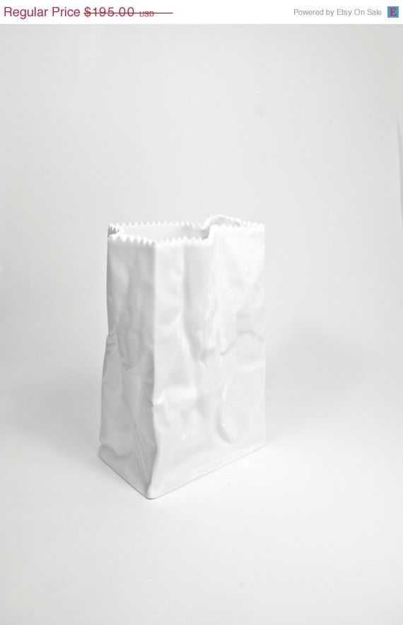 Paper Bag vase created by famous artist Tapio Wirkkala for Rosenthal Studio-linie Germany in the 1970s.