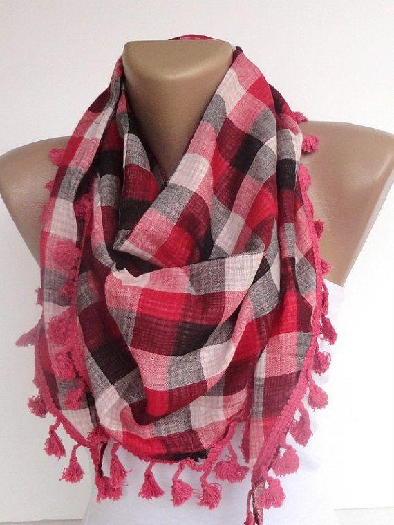 plaid fashion accessories pink gray women scarf  by scarvesCHIC, $24.50