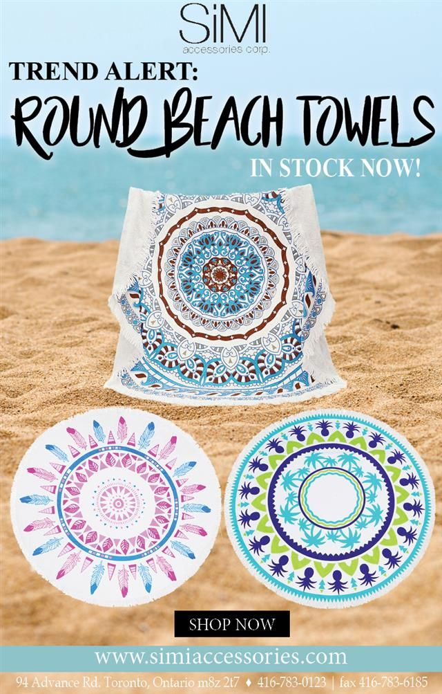 #BeachTowels are back in stock! #wholesaleFashion #Accessories #BeachAccessories #Beach #Summer #Toronto #US #Canada #RoundTowels