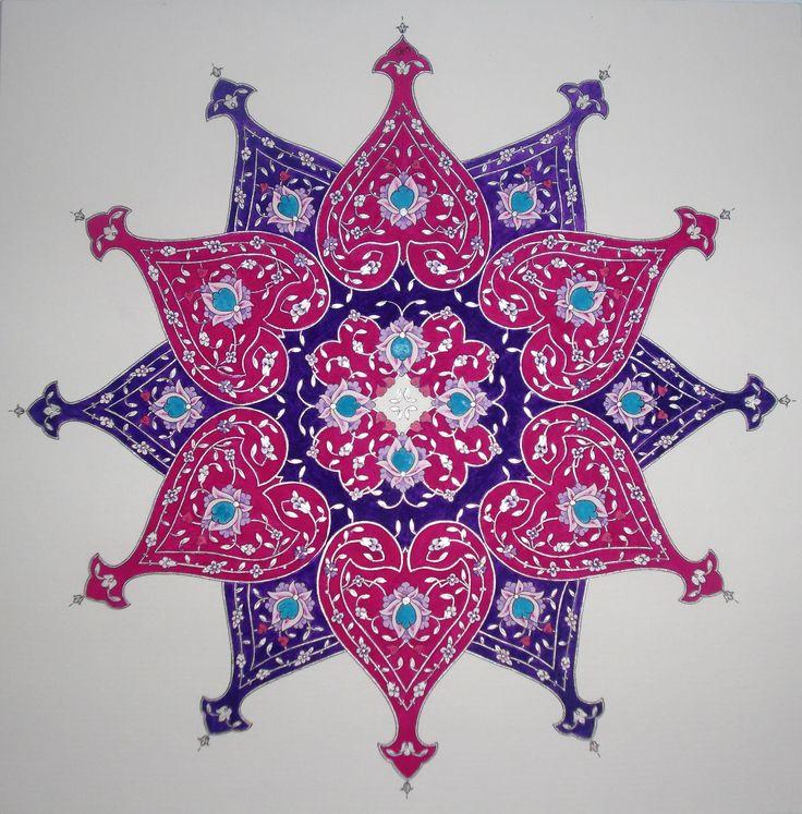 "Persian Illuminations (Tazhib) artwork by Mojgan Lisar: Shamseh "" sweetness of love """