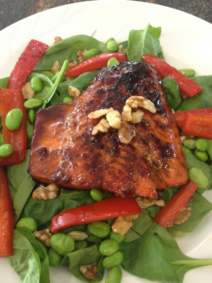 Maple Salmon with Greens, Edamame, and Walnuts
