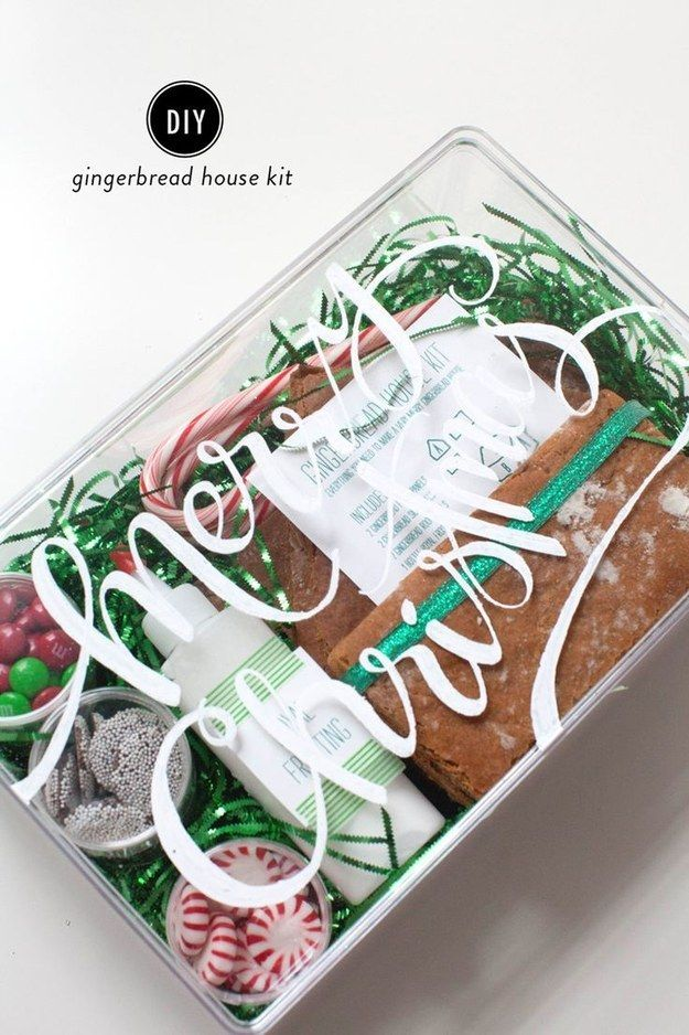 A Gingerbread House Kit | 31 Cheap And Easy Last-Minute DIY Gifts They'll Actually Want  I wouldn't call this one particularly cheap or easy, but this is a super neat idea!