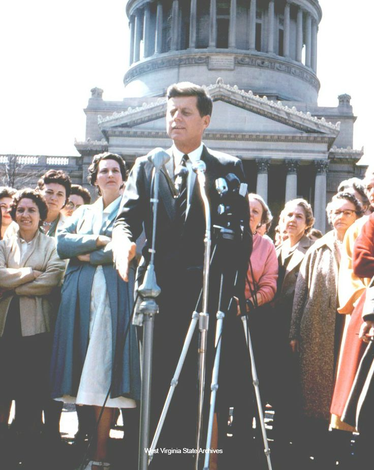 1960 Presidential Campaign in West Virginia Photograph, John F. Kennedy giving a speech on the steps at the State Capitol during the West Virginia primary campaign, April 11, 1960, Charleston. David Todd Carden Collection ♡❁♡✾♡✽♡❃♡ http://www.jfklibrary.org/JFK/JFK-in-History/Campaign-of-1960.aspx