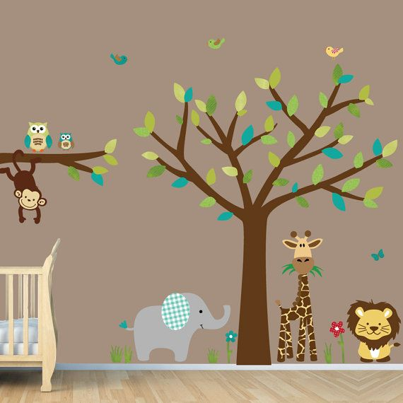 Jungle Decals, Jungle Wall Decals, Giraffe, Elephant, Monkey, Lion (SG Jungle Fun) sur Etsy, $97.75 CAD