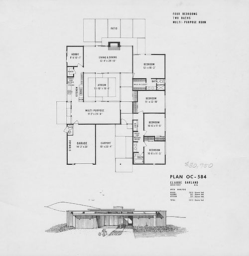 26 best eichler floor plans images on pinterest modern for House plans with atrium in center