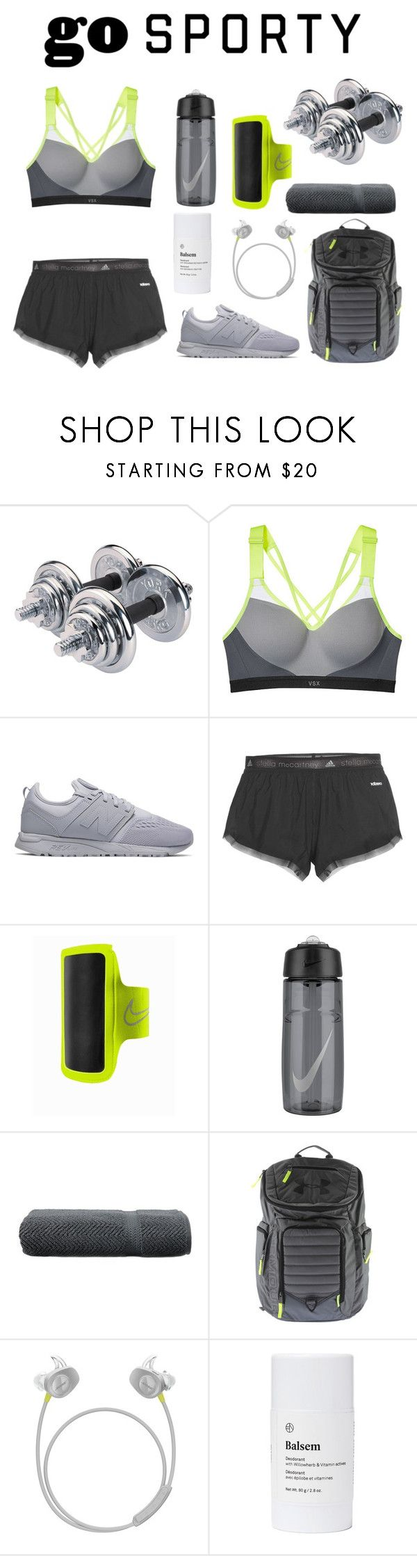 """""""go SPORTY"""" by theodor44444 ❤ liked on Polyvore featuring Victoria's Secret, New Balance, adidas, NIKE, Linum Home Textiles, Under Armour, Bose and Balsem"""