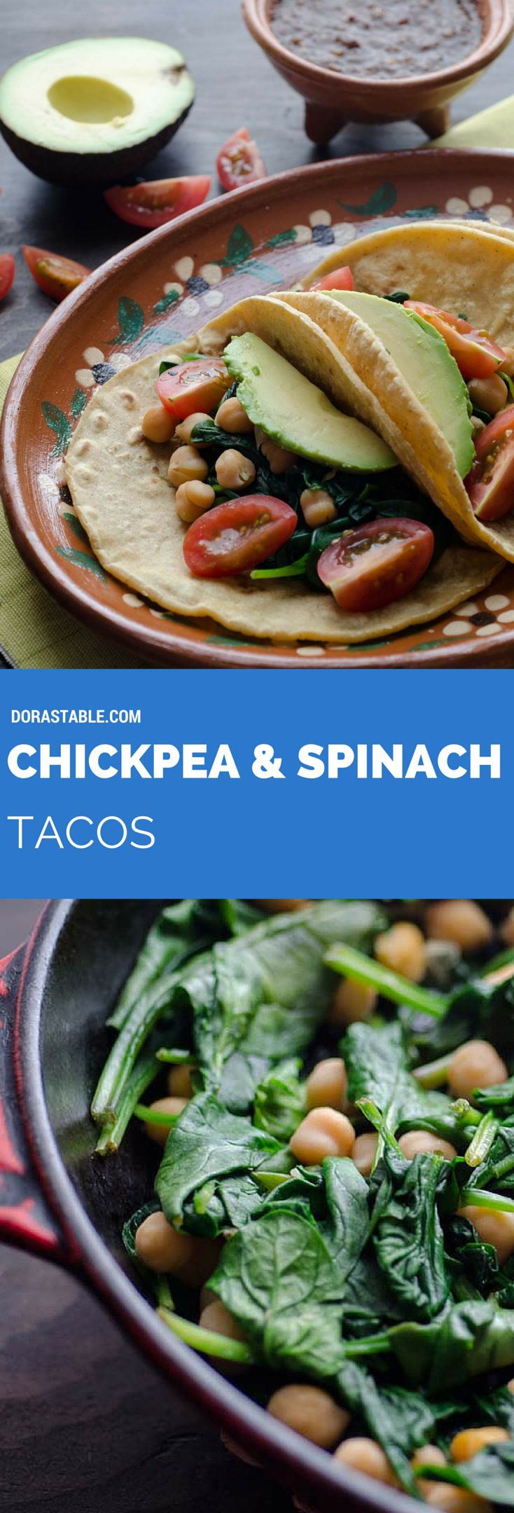 This recipe for Chickpea and Spinach tacos is my go-to easy lunch. Serve on warm corn tortillas, topped with cherry tomatoes, avocado, salsa, and pepitas. Vegan & Gluten-free