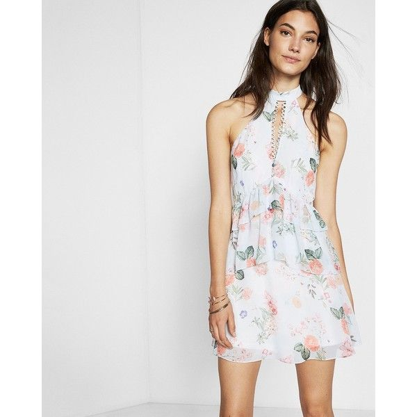Express Petite Floral Print Tiered Fit And Flare Dress ($50) ❤ liked on Polyvore featuring dresses, floral print, floral halter dress, fit and flare dress, halter dress, special occasion dresses and petite cocktail dress