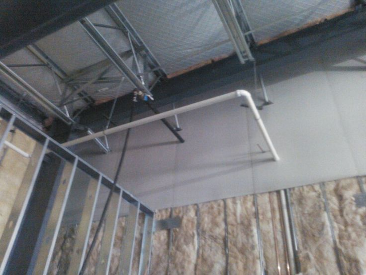 Topping Out Drywall Around Bar Joist Amp Pipes On Site