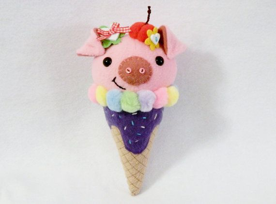 Hey, I found this really awesome Etsy listing at https://www.etsy.com/listing/194661859/stuffed-pig-ice-cream-cone-plush-toy