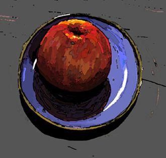 Red apple, Blue plate, Still life. still life, Digital art, iPad Painting. Kathy Lewis