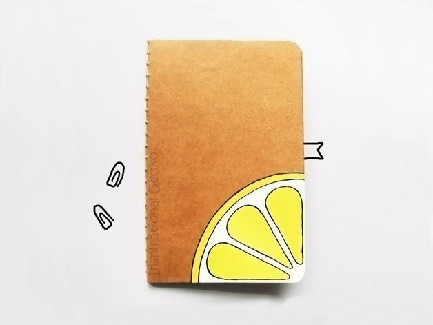 Notebooks – Lemon handpainted journal, diary notebook, notepad – a unique product by InspirationalGecko on DaWanda
