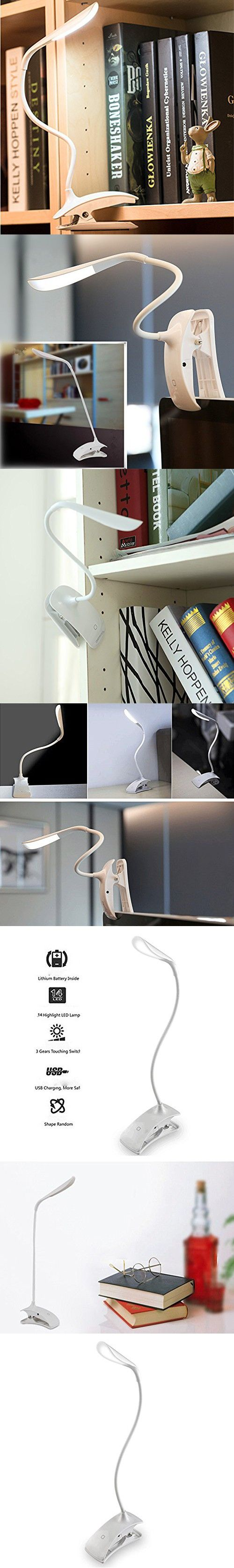 Ndoobiy Rechargeable LED Desk Lamp Table Clip Reading Light Touch Control Clamp-on Study Lamp Gooseneck with Usb Charging Port for Students Kids Bedrooms Living Room 3 Brightness Levels 3W