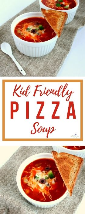 Pizza in a bowl? Yes please! This delicious kid friendly pizza soup sneaks in veggies and tastes just like pizza! Your family will love this healthy spin on the ultimate Italian comfort food.