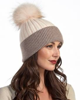 7dedfe539a2 Kinley Knit Beanie Hat with Finn Raccoon Pom Pom in Cream Brown ...