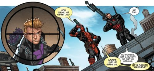 """Deadpool would like to point out that Clint Barton's codename is """"Hawkeye"""". [Thunderbolts V2 #27]"""