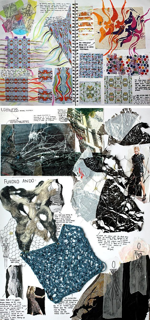 These experimental, mixed media sketchbook pages explore a wide range of tactile surfaces and structures and indicate a high level of engagement with the subject matter. The properties of threads and fabric are investigated thoroughly, using a range of mediums and techniques, resulting in rich, exciting pages. Small, tidy annotation surrounds the pieces, providing thorough analysis without causing distraction from the work itself.