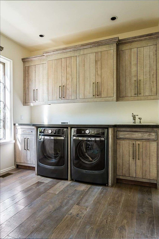 Home in Tennessee by Austin Bryant Moore- LOVE these rustic looking laundry cabinets- very cool!