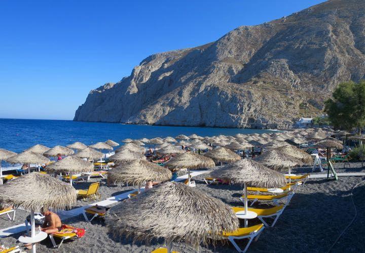 The best resort in Santorini – Kamari Beach.
