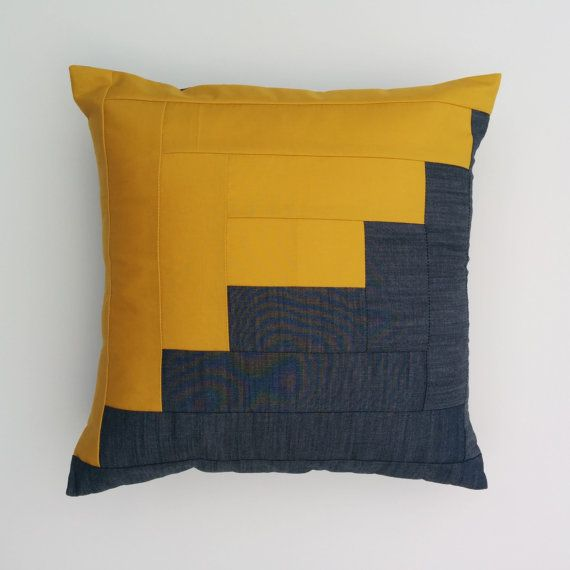 Handcrafted Cotton Pillow Case Featuring Classic Log Cabin Design In Denim  Linen And Mustard. An