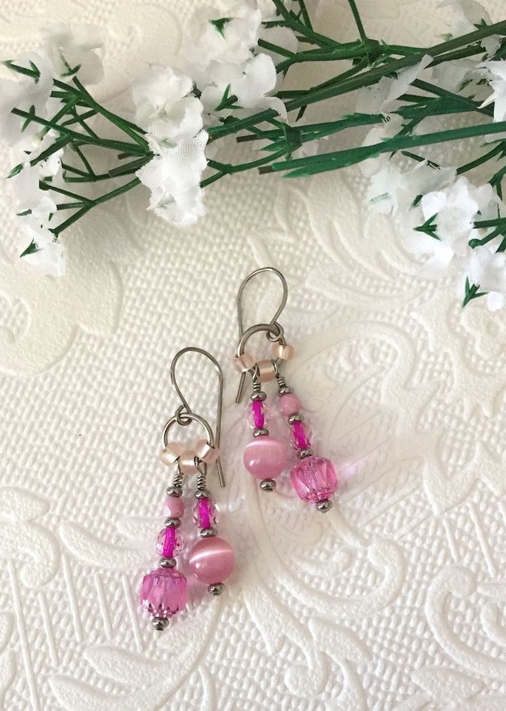 Pink dangle earrings, boho style, with stainless steel