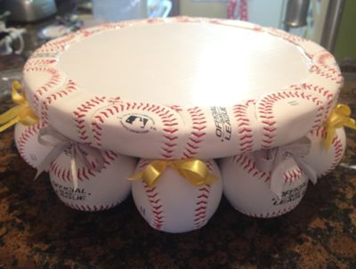 Very cute Baseball Wedding Cake Stand.  Looks like a manageable DIY project.  #baseballwedding