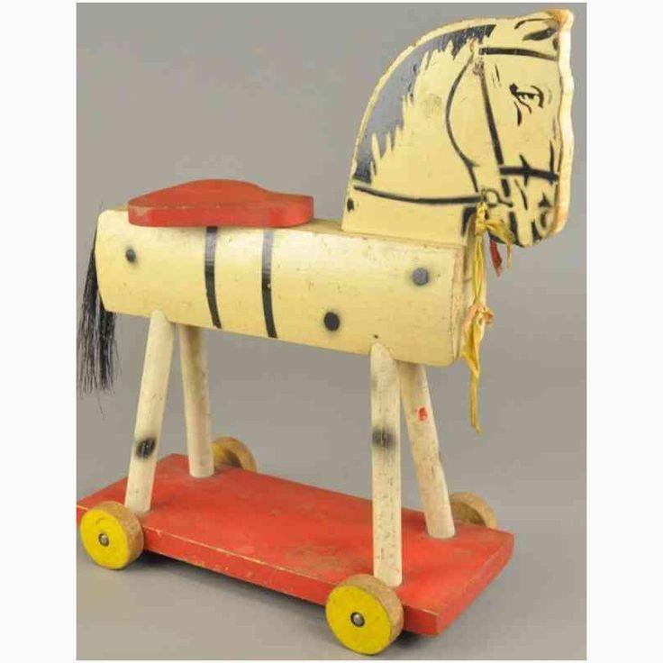 spielzeug fisher-price 237 holz reitpferd weiss sockel rot gelbe raeder, Datenbank für altes Spielzeug