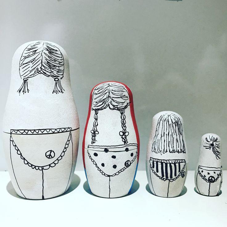 Matrijoschka Babuschka Matroschka Russian Doll   Selbst Holzrohlinge angemalt   Basteln  Malen DIY  www.desi-kreativ.de
