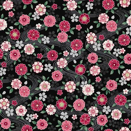 4526-645 Shiki Small Floral Pink on Black