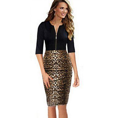 abito di alta cerniera ginocchio epoca leopardo stampa bodycon lavoro delle donne – CAD $ 17.04