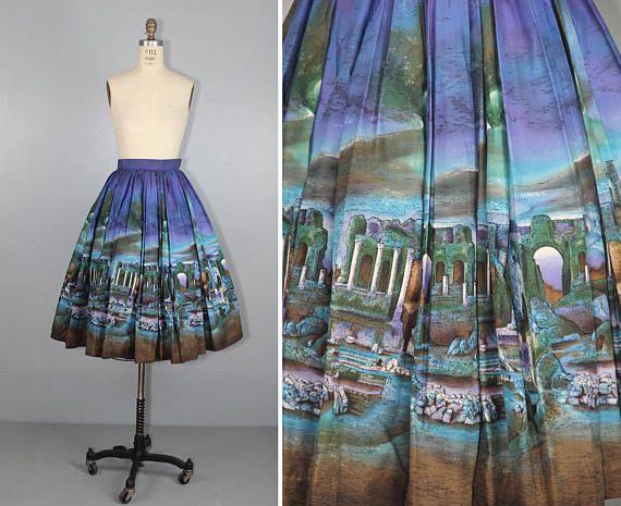 novelty skirt / 1950s / ANCIENT RUINS / cotton / vintage Millworth novelty print