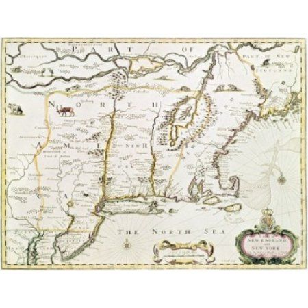 New England and New York 1676 Maps Canvas Art - (24 x 36)