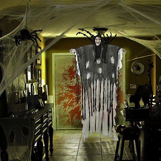 180cm Halloween Figuren Dekoration Requisite, YUNLIGHTS sprachaktiviertes Skelett / Geist mit glühend roten Augen und tollem Soundeffekt, 34,6 Zoll Armbreite: Amazon.de: Küche & Haushalt