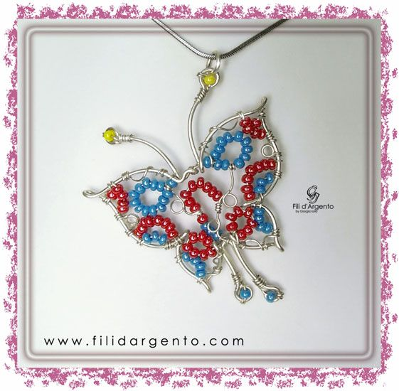 Pendente Farfalla Wire con perline / Butterfly wire Pendant with beads