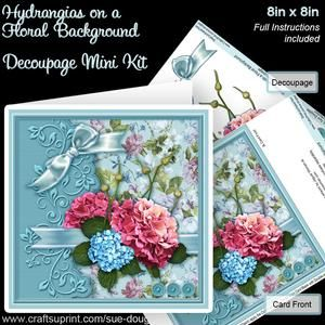 Hydrangias On A Floral Background 8inx8in Decoupage Mini Kit